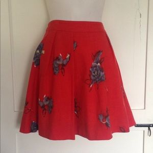 Anthropologie Odille wool skirt. Red floral Sz 12